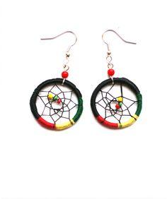 Rasta Colour Dream Catcher Earrings Hippie Jewelry by Hippyfairy