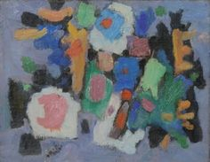 Composition florale by Isaac Pailes ~ these are examples of the artist's mature later work in an abstract style   (Other paintings are on my board 'art of flowers ~ Eastern Europe')