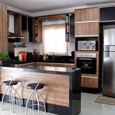 44 fabulous modern kitchen sets on simplicity, efficiency and elegance 25 Kitchen Room Design, Home Decor Kitchen, Interior Design Kitchen, Kitchen Furniture, Home Kitchens, Kitchen Ideas, Kitchen Layout, Küchen Design, House Design