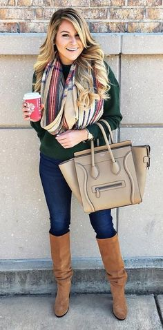#winter #fashion //  Green Jacket // Camel Leather Tote // Skinny Jeans // Camel Boots // Printed Scarf