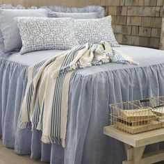 Pine Cone Hill | Veena Blue Sham | An Indian-inspired pattern gives our linen sham a touch of global glamour.