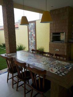 Diy Patio, Backyard Patio, Tile Tables, Diy Terrasse, Mexican Home Decor, Outdoor Dining, Outdoor Decor, Cuisines Design, Exterior Design