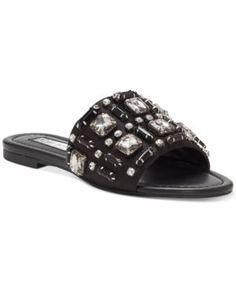 INC Gerra Flat Sandals, Created for Macy's - Black 7.5M