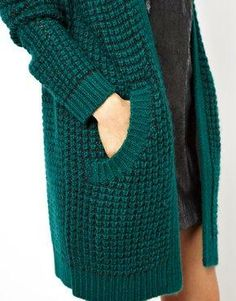 long sweaters with pockets. Just ordered this one. (ASOS Longline Cardigan in Chunky Stitch)