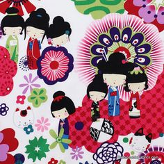 Kaori Kokeshi in Brite by Alexander Henry Fabrics 7552A    http://www.fashionablefabrics.com/kaori-kokeshi-in-brite-by-alexander-henry-fabrics-7552a.aspx#