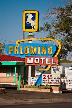 Route 66 - Tucumcari, New Mexico. The Palomino Motel, still in operation on Tucumcari Boulevard, on what was once old Rt. This roadside establishment features a classic neon sign. Old Route 66, Route 66 Road Trip, Historic Route 66, Travel Route, Travel Oklahoma, Retro Signage, New Mexico Usa, Vintage Neon Signs, Roadside Attractions
