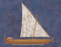 "A dromon (from Greek δρόμων, dromōn, ""runner"") was a type of galley and the most important warship of the Byzantine navy from the 5th to 12th centuries AD, when they were succeeded by Italian-style galleys. It was developed from the ancient liburnian, which was the mainstay of the Roman navy during the Empire. On the picture - of mid-7th century"