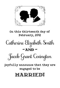 Engagement announcement keepsake that I'm working on for a friend (not their real names)