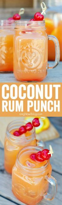 Punch Coconut Rum Punch Recipe - a delicious combination of tropical flavors and coconut rum to make one tasty party drink!Coconut Rum Punch Recipe - a delicious combination of tropical flavors and coconut rum to make one tasty party drink! Bar Drinks, Cocktail Drinks, Cocktail Recipes, Alcoholic Drinks, Drinks Alcohol, Alcohol Shots, Liquor Shots, Pool Drinks, Juice Drinks