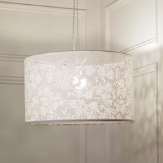 Basic white drum lamp with lace shadow inside