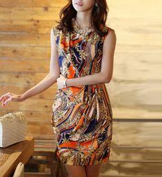 Baroque Patterns Silk Dress-zeniche.com SKU ab0148