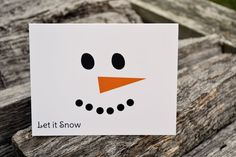 Personalized Christmas Note Cards with Snowman Face