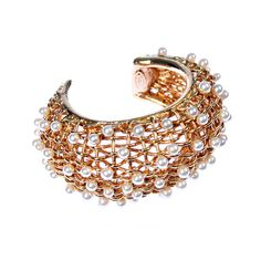Fabulous CHANEL Basket Weave Cuff with Pearls