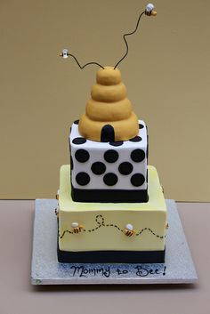 Mommy to Bee - adorable shower cake Amazing Cakes, Beautiful Cakes, Bee Cakes, Festa Party, Specialty Cakes, Fancy Cakes, Pretty Cakes, Creative Cakes, Celebration Cakes