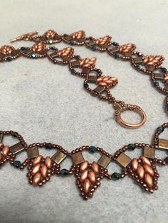 handmade Beaded Necklace with Tila beads and SuperDuo beads