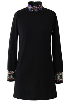 Beads and Crystal Embellished Polo Neck Top - New Arrivals - Retro, Indie and Unique Fashion
