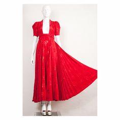 Vintage damask poppy red Ossie Clark iconic Bridget dress Quorum 1974 by VintageKabinet on Etsy