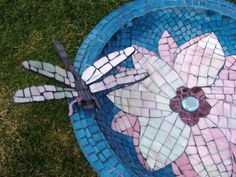 'Dragonfly Birdbath' by Tina Van Raay  (Check the 'Mosaic Art Gallery' on this site...it's loaded with beautiful mosaics!)