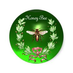 HONEY BEE ,WREATH WITH OAK LEAVES  AND RED RIBBON ROUND STICKER ,Elegant and classy vintage style floral apiarist design with honey bee and a oak leaves crown on a bright 3D green emerald gem stone easily customizable for your business.