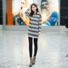 J41358 Stripes print casual long sleeve T-shirt [J41358] - $9.73 : China,Korean,Japan Fashion clothing wholesale and Dropship online-Be the most beautiful Lady