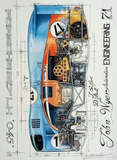 porsche 917lh 045 - gulf livery 17 - drawing john wyer #newcars #new #cars #drawings Porsche Macan Turbo, Porsche 930 Turbo, Porsche Boxter, Carros Porsche, Porsche Cayman Gt4, Porsche Autos, Porsche Cars, Porsche 2020, Porsche Classic
