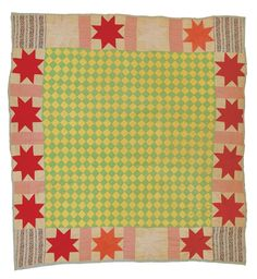 "Arie Pettway (Gee's Bend)- Checkerboard medallion surrounded with ""LeMoyne Stars"" c. 1945 Cotton clothing material 80 x 77 inches Old Quilts, Antique Quilts, Star Quilts, Vintage Quilts, Outsider Art, Gees Bend Quilts, Deep Foundation, American Quilt, Weaving Textiles"
