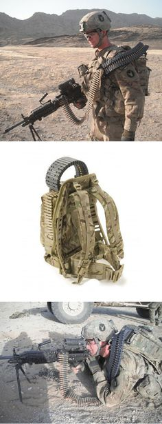 Ironman prototype. Medium and heavy machine gun backpack allows single soldier to operate gun (instead of the 2 to 3 man crew it normally requires). One long, continuous belt feeding uninterruptedly from the pack into his gun.