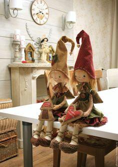 Купить Домовые гномы. Шуня и Маня. Текстильная чердачная кукла. - бледно-розовый, розовый, ангел