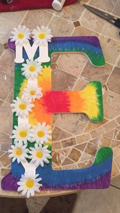 Fun tye dye DIY letter for a girls room!