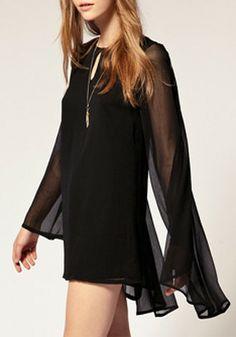 Sexy Black Plain Puff Long Sleeve Chiffon Dress #Sheer #Sexy #LBD