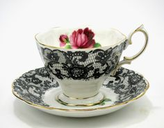 """RARE Royal Albert """"Senorita"""" tea cup & saucer - vintage - bone china - England. This is MY absolute favorite teacup! The Señorita collection is rare, expensive and hard to find!! I would love to find the whole collection!!!! LOVE, LOVE, LOVE!!!!!"""
