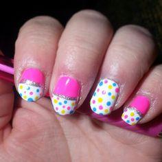 Sister's nails! #pink #polkadots #nails #nailart #pretty