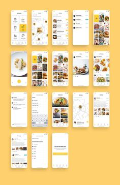 Food App UI Kit Bundle is a pack of 88 delicate food app UI design screen templates that will help you to design clear user interfaces for food apps faster and easier. Compatible with Sketch App, Figma & Adobe XD Android App Design, Ios App Design, User Interface Design, Desing App, Web Design, Food Design, Wireframe, Layout, Design Thinking