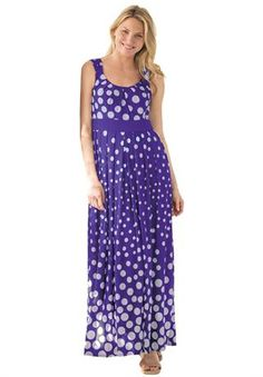 Dress, with polka dots in maxi length