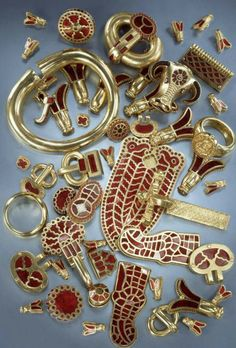 Childric burial jewelry inlaid garnets in high karat gold..
