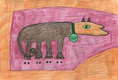 "Maranda Russell: ""dog abstract fantasy cartoon drawing"" color pencil, x cm Autistic Artist, Naive Art, Weird Art, Outsider Art, Fantasy, The Outsiders, Moose Art, Folk, Art Gallery"