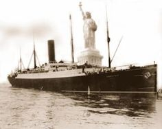 The RMS Carpathia arrrives in New York with the Titanic survivors on April 17, 1912.