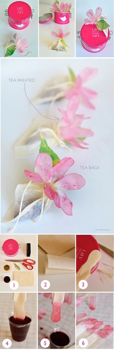 Give spring crafts for children to moms, grandmas, aunts, and friends that will instantly light up their lives. Tea Bag Flowers are the perfect spring craft ideas for kids to make as gifts. Flower crafts for kids are perfect for both spring and summe Flower Crafts, Diy Flowers, Paper Flowers, Homemade Gifts, Diy Gifts, Tea Bag Art, Fleurs Diy, Flower Tea, Ribbon Flower
