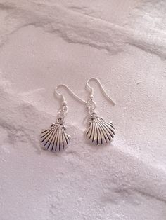 Silver Shell Earrings Silver Earrings Shell by peppiandboo on Etsy