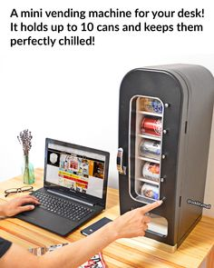 There's Now a Mini Vending Machine You Can Get For Your Desk. It holds up to 10 cans and keeps them perfectly chilled. Just press the button and the can instantly drops down for you to grab!