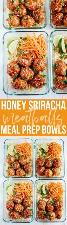These Honey Sriracha Glazed Meatballs are sweet, spicy and full of so much flavor! They also take less than 30 minutes to make and are perfect for weekly meal prep! snacks meal prep Honey Sriracha Glazed Meatballs - Eat Yourself Skinny Lunch Meal Prep, Meal Prep Bowls, Healthy Meal Prep, Healthy Snacks, Healthy Eating, Healthy Recipes, Easy Recipes, Keto Recipes, Dinner Healthy