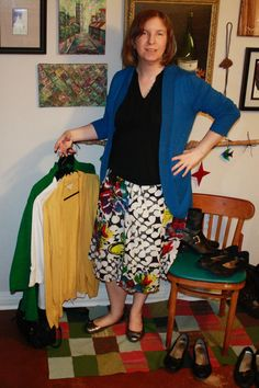 Old navy multicolored skirt with ballet flats and black ruffle sleeveless top - several cardigans to match. (I didn't feel like taking stockings or tights on and off, so imagine them on my pale legs.)