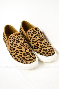 Suede Leopard Slip On Shoes