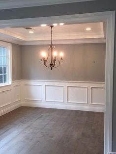 light grey walls with white wainscoting Dining Room Remodel, Waynes Coating Dining Room, Home Living Room, Interior, Dining Room Walls, Home Remodeling, House Interior, Living Room Panelling, Dining Room Wainscoting