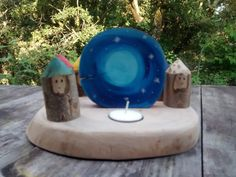 Day-Night candle holder / colors of the days wooden gnomes / Rhythm of the day / Waldorf Rhythm /