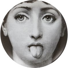 """Fornasetti """"Woman Sticking Tongue Out"""" Plate at Barneys.com"""