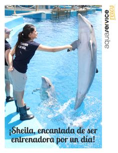 """Sheila disfrutó de su jornada de """"entrenador por un día"""" en el Oceanogràfic de Valencia, gracias a ganar nuestra etapa acuática de los Retos Aquaservice.  ¡Felicidades, Sheila! #retosaquaservice"""