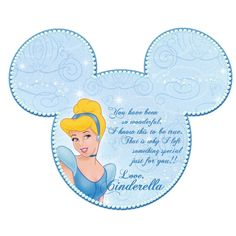 gifts from Cinderella printable  i love these they are from different characters. i get dollar store gifts and give them to my son every nite. i tell him if he's good he get a present. it saves money by bringing them n only buying a few gifts at disney world.