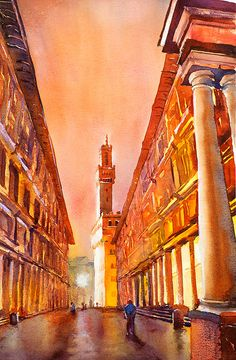 Watercolor painting of the exterior of Uffizi Gallery in Florence, Italy RFoxWatercolors