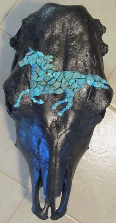Custom Hand Painted Black and Turquoise Horse Cow Skull Western Cowgirl on Etsy, $250.00
